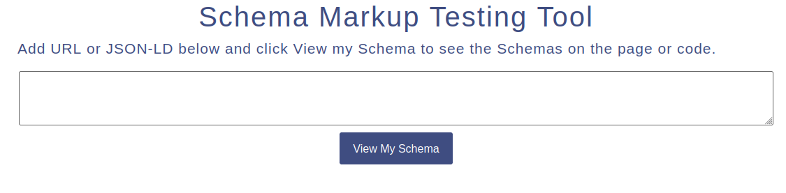 Schema markup testing tool user interface with validation button